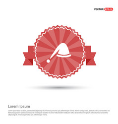 santa hat icon - red ribbon banner vector image