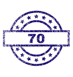 Scratched textured 70 stamp seal vector