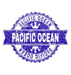 Scratched textured pacific ocean stamp seal with vector