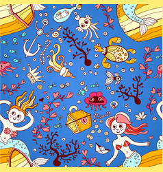 Seamless pattern from mermaid girls with treasures vector