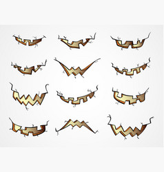 Set halloween pumpkins mouth with different vector