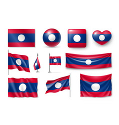 set laos flags banners banners symbols flat vector image