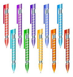 Set of multi-colored pens on a white background vector