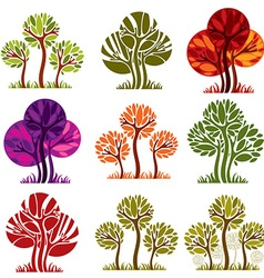 Set of stylized trees with green and purple leaves vector