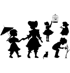 set silhouettes playing kids vector image