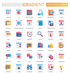set trendy flat gradient web development vector image