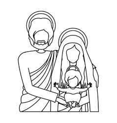 Silhouette half body picture of sacred family vector