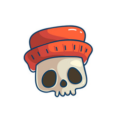 skull character with hat vector image