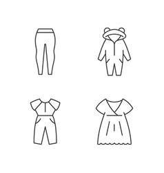 Sleepwear linear icons set vector