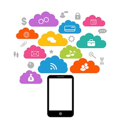 Smart device with cloud application icons vector
