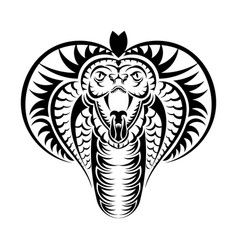 Snake cobra face icon black the emblem with king vector