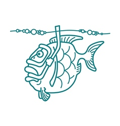 Snorkel diving fish vector