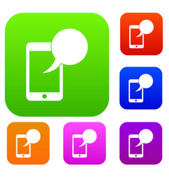speech bubble on phone set collection vector image