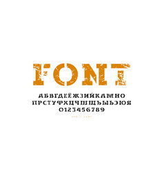 Stencil-plate serif font in classic style vector