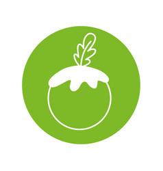Sticker healthy tomato vegetable icon vector