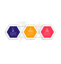 Stylish three options hexagonal infographic vector