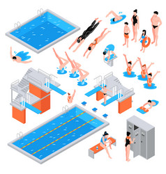 Swimming pool isometric elements vector
