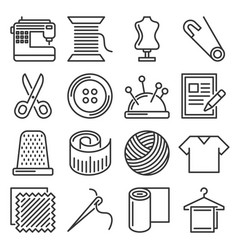 tailor and knitting sewing icons set vector image