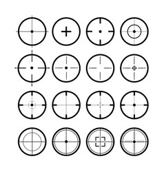 Target set sight symbol black colored set 16 vector