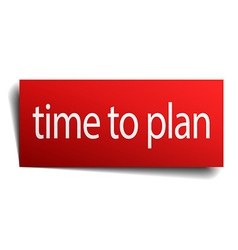 time to plan red paper sign on white background vector image