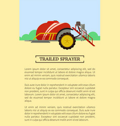 Trailed sprayer poster text vector