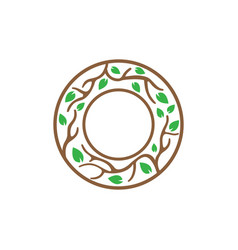 tree branch in circle icon design template vector image