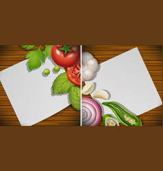 Two boards with fresh ingredients vector
