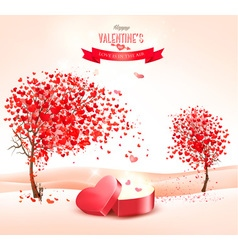 Valentines day background with an heart shaped vector image