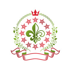 Victorian colorful emblem composed using lily vector