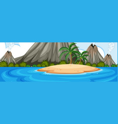 Volcano on the island landscape vector