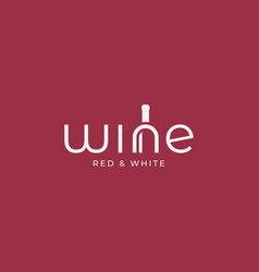 wine logo with wine text and bottle on red vector image