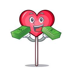 With money bag heart lollipop mascot cartoon vector