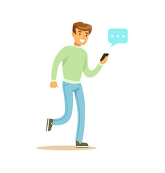 Young man walking and sending a message to someone vector