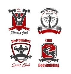 Bodybuilding and weightlifting sport club sign set vector image