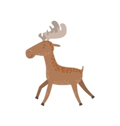 Brown spotted moose running vector