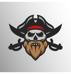 Captain Pirate Skull and crossed sabers vector image vector image