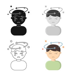 dizziness icon cartoon single sick icon from the vector image vector image