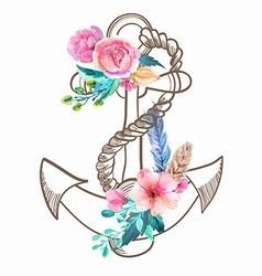 Doodle Anchor with watercolor flowers and feather vector image