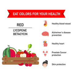 eat colors for your health-red foodeat a rainbow vector image