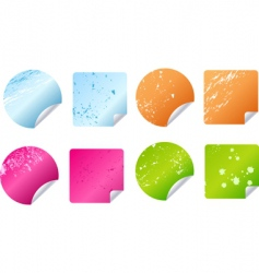 grunge stickers labels vector image