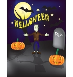 Halloween frankenstein grave yard background with vector image