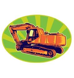 Mechanical digger excavator trac vector