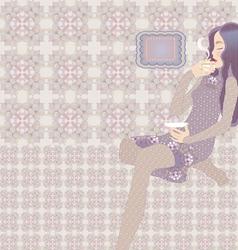 oriental girl vector image vector image