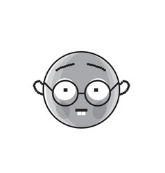 smiling cartoon face wear glasses positive people vector image