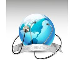 Stethoscope against a globe world health day vector