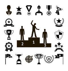 Win Awards Symbols and Trophy Silhouette Icons Set vector image vector image