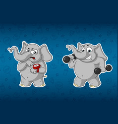 elephants sports dumbbells in the handsfitness vector image vector image