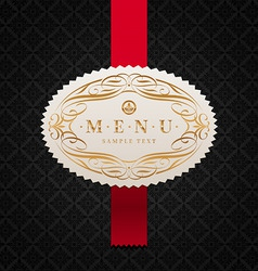 framed ornate menu label vector image vector image