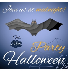 Halloween party poster Dark paper bat vector image