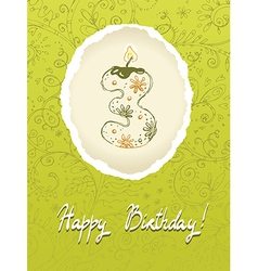 Happy Birthday Card with Candle Number vector image